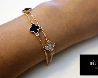 Cream Clover & Sparkles Bracelet
