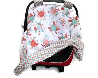 BLOW OUT SALE • Girl's Canopy • Floral Carseat Canopy • Mint Coral Gold • Shabby Chic • Cover • Tent • Baby Shower Gift • BizyBelle