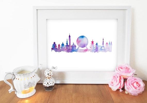 Future World Tomorrow Land Florida Theme Park EPCOT Skyline Watercolor Silhouette