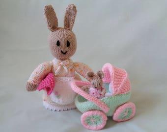 Rabbit, Hand Knitted Rabbit, Rabbit Playset, Rabbit in Buggy, Handmade Rabbit, Nursery Decor, baby gift, child gift, Easter Bunny Gift