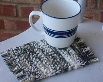 Drink coasters, soft mug rugs, set of 2, crochet brown and white soft coasters, cotton coaster set  crochet coasters, Ready to ship