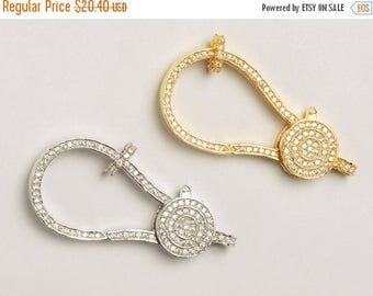Weekly Sale Extra Large Pave Lobster Claw Clasps 50mm with jump ring, micro pave cz cubic zirconia, Choose Color - BMP26