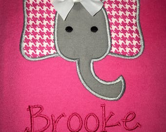 Personalized, Appliquéd Girls Pink Houndstooth Elephant Shirt