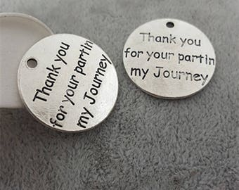 3 Thank you for your partin my Journey Charm, 25mm Antique Silver Tone Word Tag Charm, Silver Charms Tag Pendant