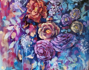 """Floral painting on canvas- purple-abstract art- flower art- wall art-canvas-oil painting-floral painting original-16""""x20""""-floral-canvas"""