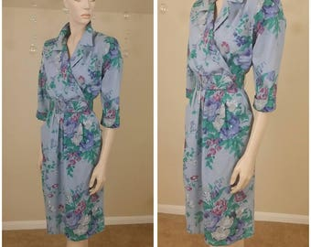 Vintage 80s flowers print dress by New Looks California