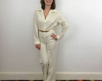 Vintage jumpsuit cream crimplene utility look boiler suit Elvis style jumper 1970s does 40s UK 10 12 handmade
