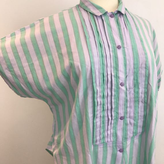 Vintage shirt striped cotton shirt square cut oversized blouse indian cotton 1980s lilac green mom fit 80s 90s grunge