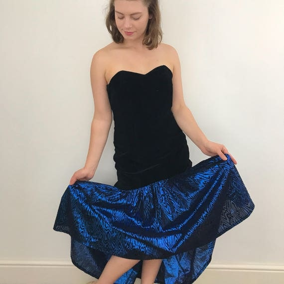 1980s vintage dress electric blue animal print  prom cocktail dress velvet corset lame fish tail skirt UK 10 goth glam pin up 50s style red