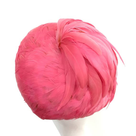 Vintage feather hat flamingo pink hat feather hat 1960s hat vintage wedding Mother of bride Goodwood Revival 60s in hat box Rackhams Harrods