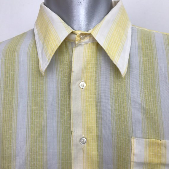 "Vintage menswear poly cotton disco shirt striped white yellow check top 16.5"" dagger collar 1970s shirt 70s shirt mod short sleeve"