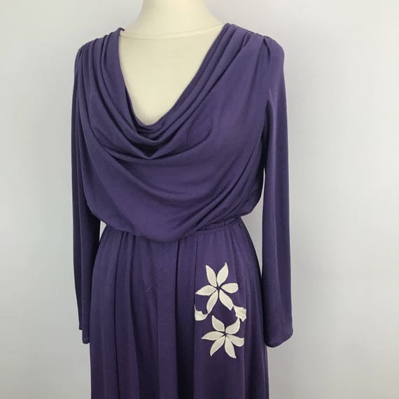 Vintage dress draped purple crepe illusion neckline polyester stretch sexy secretary pin up 80s dress UK 14