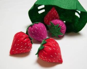 Felt Strawberry Basket Set // MADE TO ORDER // Felt Food Set, Felt toys, felt food, felt fruit, felt strawberries, handmade felt fruit