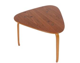 Teak Yngve Ekström Tri-Leg Side Tables for Dux Sweden