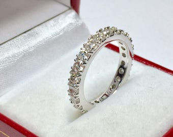 ETERNITY BAND l 14KT White Gold 2.11CT Diamond Eternity Ring l Wedding Band l Anniversary Ring l Eternity Ring