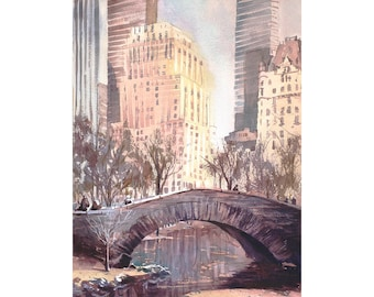 Watercolor painting of skyscrapers rising above iconic bridge in Central Park- New York City, New York (USA).  New York painting wall art
