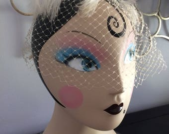 Vintage Net and Feather Veil Hat