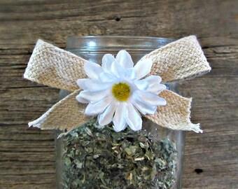 Daisy Mason Jar Bows, Burlap Mason Jar Sleeves, Birthday Party, Baby Shower, Wedding Centerpiece, Country Rustic Decor, Barn Decorations
