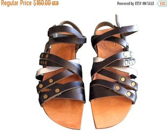 15% OFF Black-Silver-Natural Leather Sandals Unisex - Design 38 - Handmade Leather, Casual Leather Flats, Unisex Sandals, Genuine Leather Sa