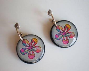 Flower earrings, Resin earrings, Earrings artwork, Round earrings, gift for her, woman gift, gift idea