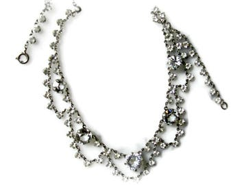 Art Deco Festoon Necklace , Draped Chains of Faceted Glass Crystals, Clear Rhinestone Dangles, Open Back Prong Settings, Bridal Jewelry