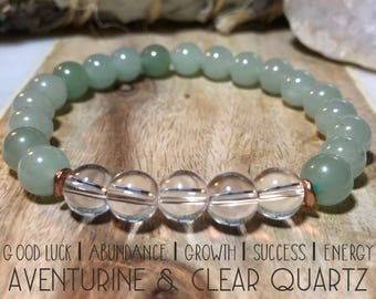 Aventurine and Clear Quartz bracelet.Inspires abundance, growth, success, and energy.