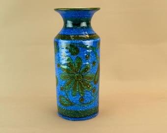 Bitossi Modernist Blue Floral Cylinder Ceramic Vase Vintage Italian 1970s