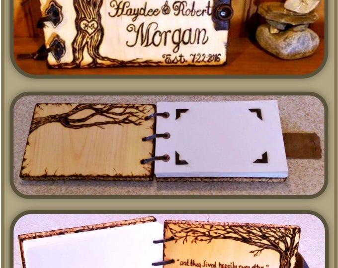 Wedding Guest Book,Wood  photo album, wood journal, Wood Anniversary gift, Memory Book, Wood book, Wood burned Book,  journals
