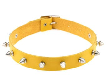 Yellow Spike Collar Choker Necklace BDSM/Punk/Rave
