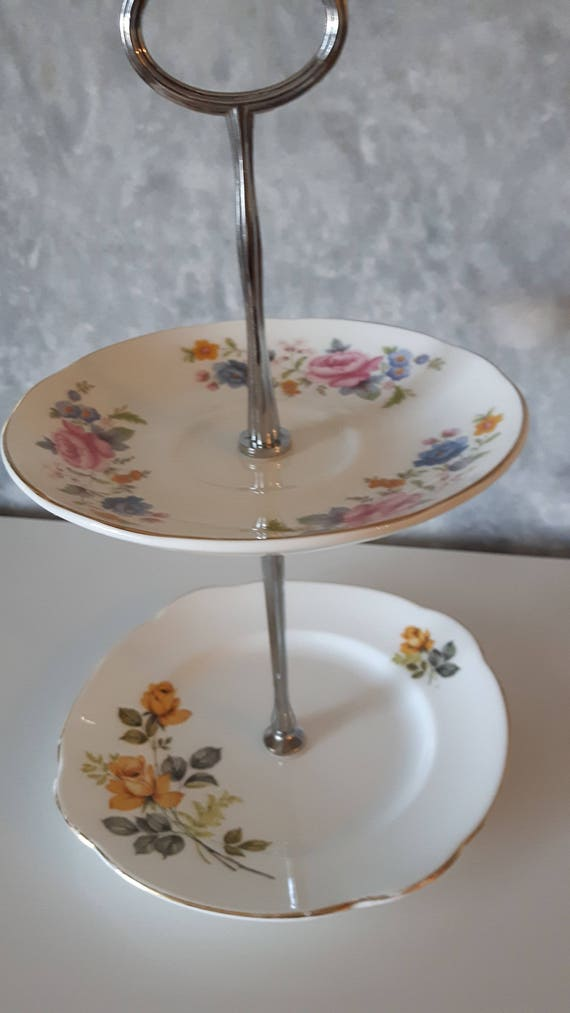 Vintage china cake stand, trinket stand, beautiful bright  floral design