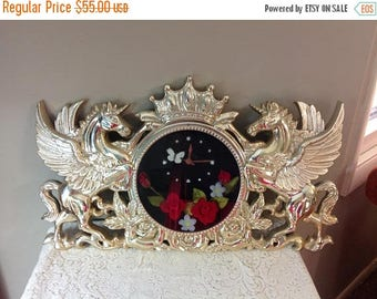 Winter Sale Vintage Silver Unicorn Clock Pegasus Unicorn Clock