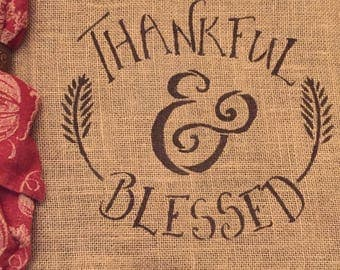 Thankful and Blessed Placemat / Thankful Burlap Placemat / Blessed Placemat / Fall Placemat / Burlap Placemat / Thanksgiving Placemat