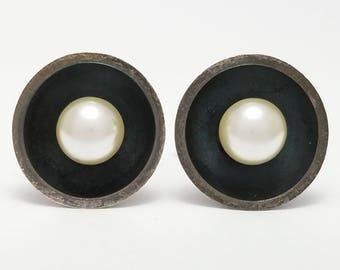 Vintage Delfino Taxco Mexico Sterling Silver Modernist Cufflinks