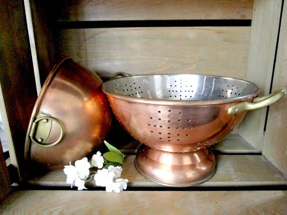Copper Kitchen Decor, Copper Mixing Bowl, Copper Colander, Farmhouse Cottage Kitchen Decor