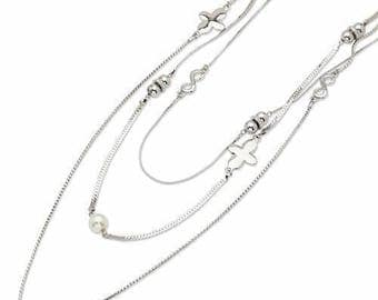 "Jackie Kennedy Silver Triple Strand Necklace - 36"" with Crystals, Box and Certificate"