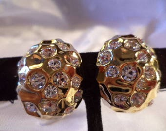 Joan Rivers Clip On Earrings - Gold Tone with Crystals - S2342