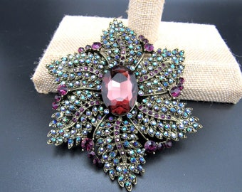 Joan Rivers Extra Large AB and Purple Brooch - S2347