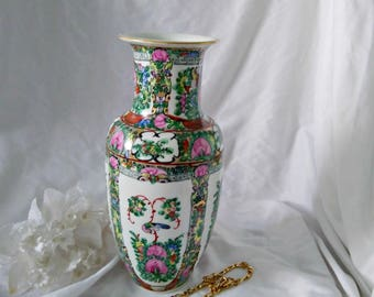 Vintage Oriental Famille Rose Vase Hand Painted in Hong Kong Asian Style 1940 Flowers and Bird Asian Decor Oriental Decor