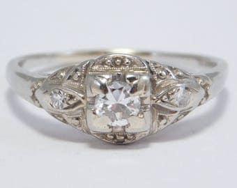 Antique Diamond 18K Engagement Ring Circa 1920
