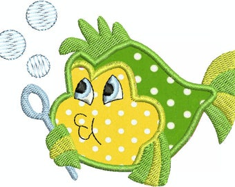 Cute Fish Baby Bubbles Applique Machine Embroidery Design