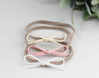 Baby Headband, Suede Headband, Nylon Headband, Dainty Headband, Faux Suede Leather Bow, Leather Bow Headband, Baby Girl Accessories