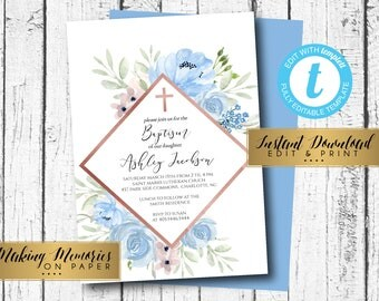 Making memories on paper one party at a by makinmemoriesonpaper boy baptism invitation first communion invite instant watercolor flowers floral invitation blue solutioingenieria Choice Image