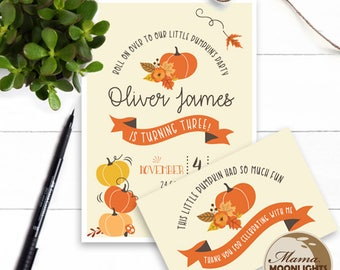 Little Pumpkin Birthday Party Printable Invitation with Thank You Card - Modern Fall Birthday Invite - Girl Boy Birthday - Orange Autumn