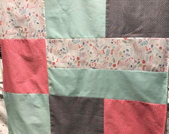 Baby blanket ,handmade baby quilt, unicorns, light aqua, grey and pink. Color choice for the back (soft minky)