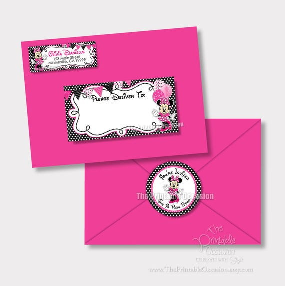 Minnie mouse address labels and envelope seal pink minnie envelope il570xn stopboris Images