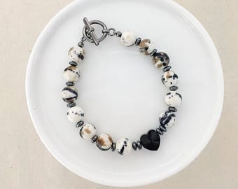 LIMITED EDITION - Neutral Beaded Heart Bracelet
