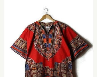 ON SALE Vintage Ethnic India/Pakistan Cotton Short Sleeve Tunic from 1970's/Bell Sleeve/Red*