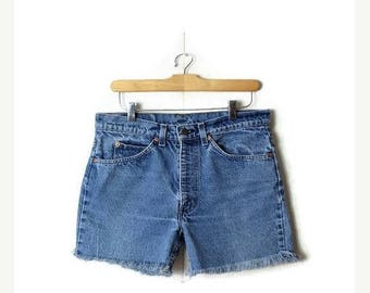 ON SALE Vintage Levi'S 517 Blue Denim Cut Off Shorts*