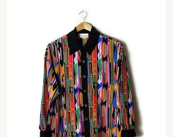 ON SALE Vintage Colorful Abstract x Black trim Slouchy  Blouse from 1980's*