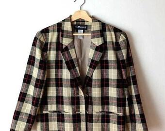 ON SALE Vintage Black/Beige Checked/Plaid Linen blends Tailored Jacket /Blazer*